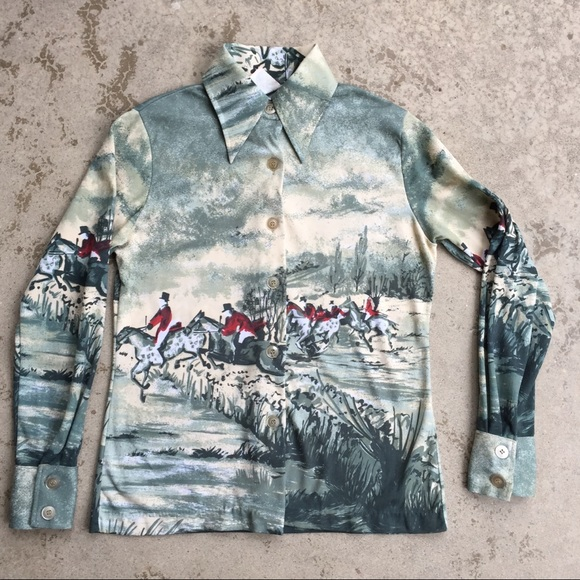 Vintage Tops - Vintage Equestrian Themed Poly Shirt